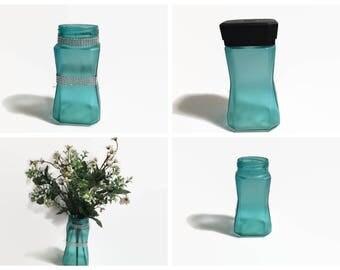 Coffee Jar Aqua Vase,  Upcycled Coffee Jar, Upcycled Vase, Vase wth Bling, Storage Jar, Home Decor, Aqua Decor, Upcycled Decor