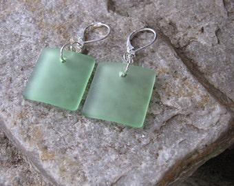 green sea glass ear rings square beach glass jewelry  earrings-bridesmaid earrings lever back ear wires