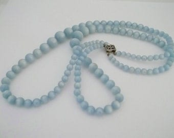 Baby Blue Moon Glow Double Strand Bead Necklace