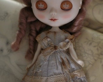 Blue vintage coffee dye dress - for Blythe - doll outfit - by kreamdoll