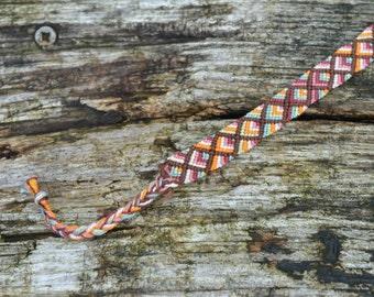 Friendship bracelet, earth tones, fall colors, autumn colors bracelet, cotton bracelet, red brown orange green bracelet (ready to ship)