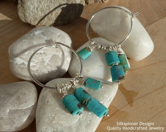 Turquoise and Sterling Silver Circle Earrings