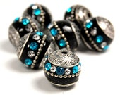 Turquoise Antique Silver Metal Round Handmade Indonesia Beads -5