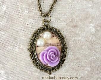 Purple Rose Vintage style Bronze tone Neckalce