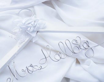 Bride Gift from Mother of Groom, Wedding Hanger With White Satin Flower