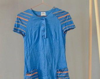SALE Electric Blue Cotton Mini Dress Vintage 70's mod