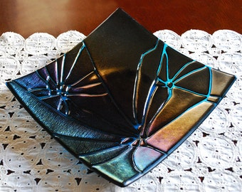Fused Glass Dish Iridescent Black and Sky Blue