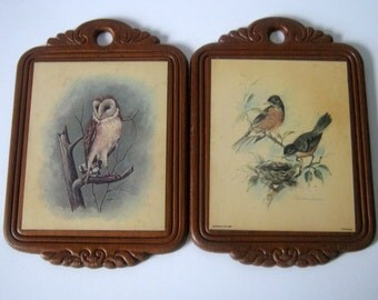 2 Vintage Stapco Wood Bird Plaques