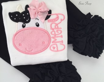 Cow shirt or bodysuit for girls -- Udderly Adorable -- sweet cow theme shirt for girls in black, white and pink