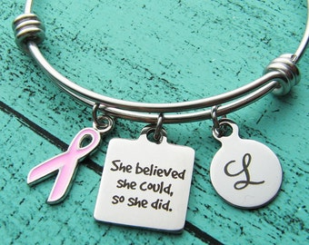 breast cancer gift, cancer survivor recovery bracelet, inspirational gift, cancer awereness, she believed she could, pink ribbon cancer free