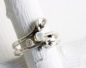 Opal,White Topaz Leaf Ring, Engagement Rings, Set of 2 Rings, Small Leaf Silver Rings