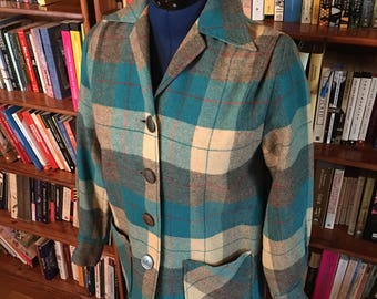 FINE 49er-- The Best 1940s 1950s 49er Forty Niner Jacket in Turquoise and Grey with Red Accents--S, M