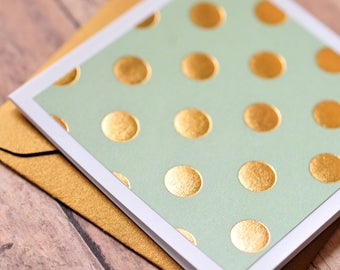 Gold Polka Dot Mini Cards // Set of 4 // Blank Cards // Enclosure Cards // Love Note // Thank You Note // Gift Tag