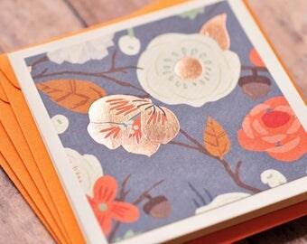 SALE-Copper Flower Mini Card // Set of 3 // Blank Card // Enclosure Card // Gift Tag // Love Note // Advice Card // Keepsake // Scrapbooking