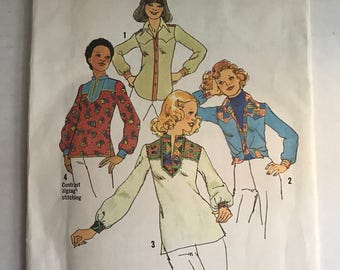 Vintage 70s Simplicity 7143 Sewing Pattern 70s Tunic Pattern Western Shirt Sewing Pattern Size 10 Bust 32 1/2 Uncut