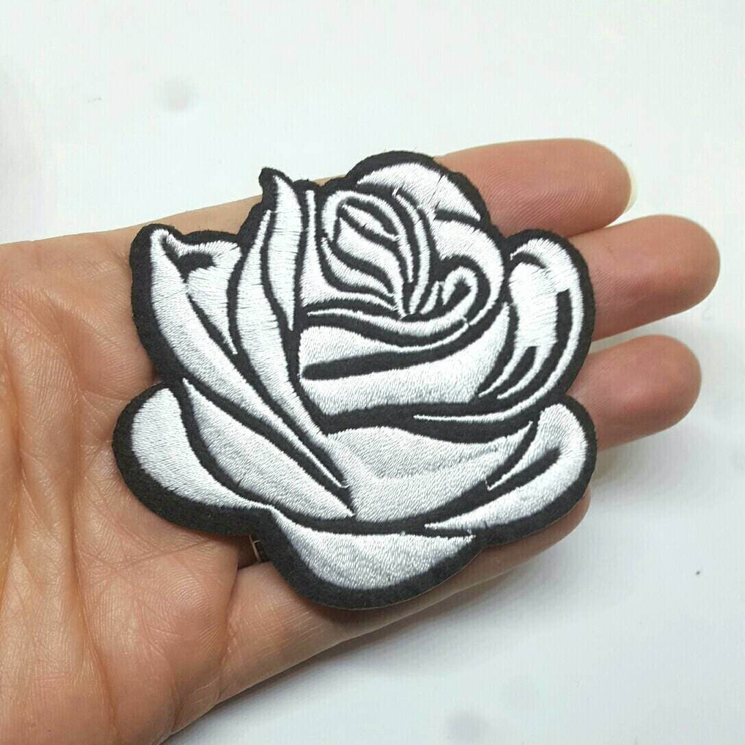 Pc black white rose tattoo embroidered applique patches