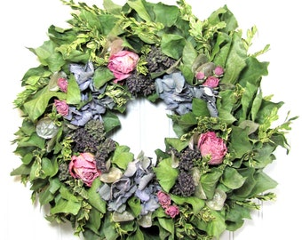 Dried Flower Wreath with Hydrangea