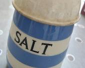 SALE 25% off T G Green vintage Cornishware salt cellar blue stripe