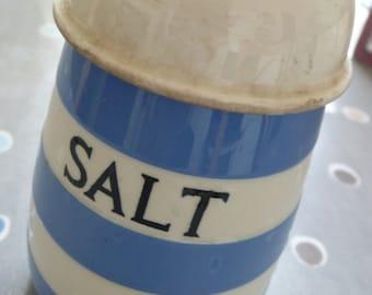 T G Green vintage Cornishware salt cellar blue stripe