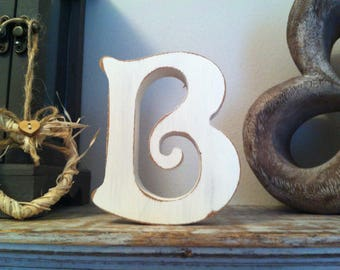 Freestanding Wooden Wedding Letter 'B' - 15cm - Victorian Style Font, various colours and finishes available.