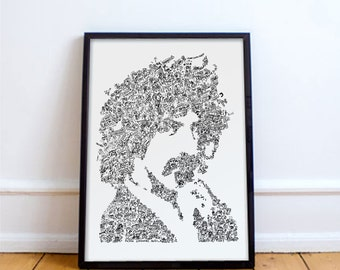 Frank Zappa poster - The mothers of Invention - drawing  with Biographical detail in the portrait - Open Edition - A4 - A3 -A2 - A1