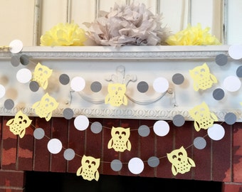 Owl baby shower banner - yellow and gray baby shower decorations- woodland owl baby banner- gender neutral baby shower- your color choices