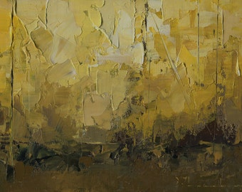 Original Oil Painting Landscape Painting Abstract by John Shanabrook - 5 x 7 - An Afternoon Late