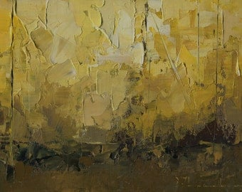 Original Oil Painting Landscape Painting Abstract Painting by John Shanabrook - 5 x 7 - An Afternoon Late