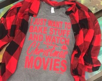 NEW Christmas soft tee Bake stuff and watch Christmas movies
