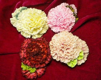 Miniature Rose Ribbon Flower Applique Assorted Colors