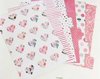 A5 Sized Valentines Hearts Dots Stripes Geometric Hearts Laminated Dividers For Filofax Large Kikki-k Planner