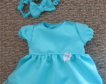 "Fancy Glittery Aqua Blue and Silver Dress Headband Fits  Bitty Baby Bitty Twin  or Similar 15"" Baby Doll"