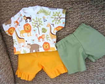 "15"" Baby Doll Yellow Capri Pants Light Greent Shorts Jungle Animal Print T Shirt Fits Bitty Baby or Other 15"" Baby Dolls or Twin Dolls"