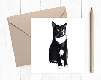 Black and White Cat Blank Greeting Card, black and white cat, cat card, blank card, any occasion, ideal for cat lovers