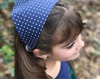 Navy White Polka Dot Head Scarf Bandana - Hair Scarf Headband