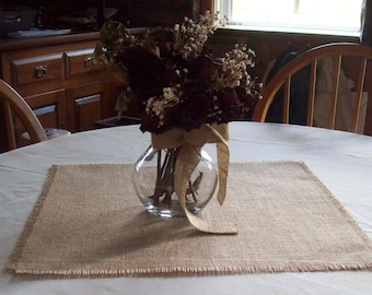 Set of 10 Burlap Table Toppers 18 x 18 or 20 x 20, Burlap Table Squares, Wedding Table Decor, Natural or Off White Burlap, Table Decorations