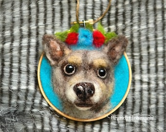 CUSTOM Needle Felted Wool Roving Pet Portrait, Cat Dog Picture, Furbaby Art, 3D, Pet Parents, Family Gift, Pet Memorial, Loving Memory