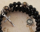 Rosary Bracelet, Black Onyx, Floral, Star Miraculous Medal, Strong, Stainless Steel, Five Decade, Memory Wire, Handcrafted, Wrapped Rosary