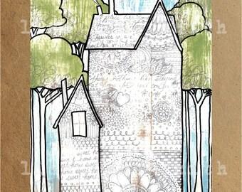 Rustic tattooed house print - houses and trees - handwriting art - 8x10 vertical art print
