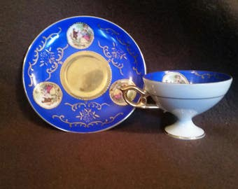 Courting Couple Vintage Pedestal Tea Cup and Saucer #2