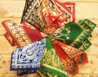 Lovely 1960s Men Cotton Pocket Squares - Lot of 7 - Ethnic Print - MADE IN FRANCE - New