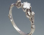 Mermaids Ring with 4mm Square Princess Cut CZ ~ Set Diagonally ~ Size 3 to 9