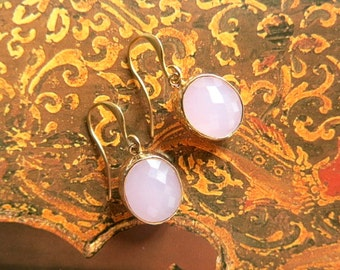Rose Opal earrings  -  beautiful simple but elegant gold plated hoops - hammered bezel pendents - gold plated