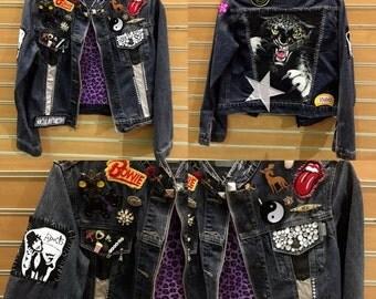 Sale Vintage Patches and Pins Embellished Denim Jean Jacket