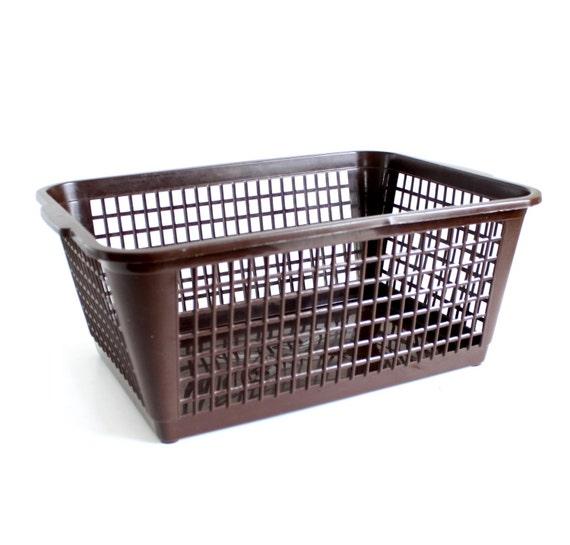 Mini Laundry Basket Plastic Storage Bin Brown Rectangular