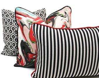 Kate Spade Black and White Grosgrain Stripe Pillow Cover Choose your size  Square, Eurosham or Lumbar pillow, Kravet fabric, toss pillow