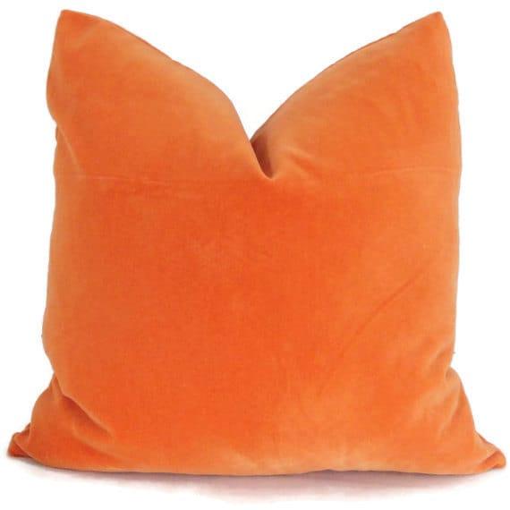 Orange Velvet Decorative Square Euro or Lumbar Pillow Cover
