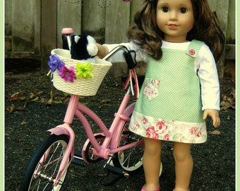 Sea green polka dot/pink floral jumper with white t-shirt for 18 inch doll-18 inch doll two piece dress set