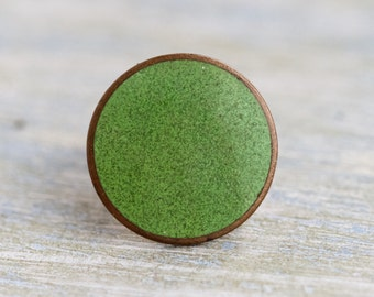 Green Dot Lapel Pin - Antique Small Round Brass Brooch - Fattorini Enamel Badge Birmingham