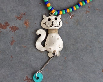 Waggy Tail Kitten Necklace - Cat Short Necklace